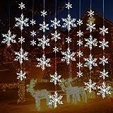 Turelifes 72 Stück 5 Größen Weiß Weihnachten Schneeflocken Dekorationen Kunststoff Glitzer Schneeflocken Weihnachtsbaum Ornamente Hängedeko für Urlaub Party