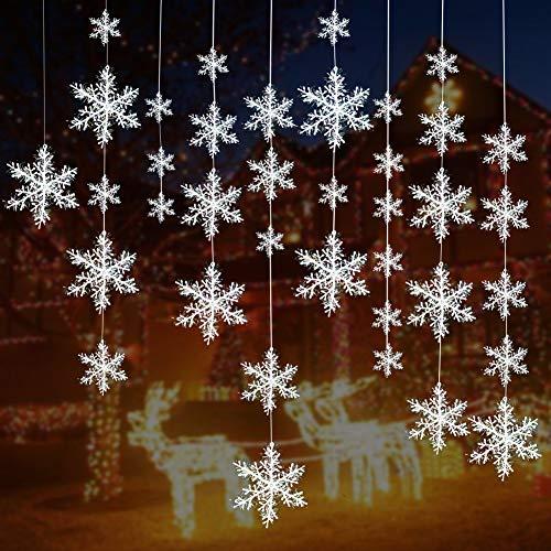 Turelifes - Confezione da 72 pezzi di 5 dimensioni diverse di fiocchi di neve bianchi, decorazioni in plastica glitterata per l'albero di Natale, ornamenti da appendere per le feste