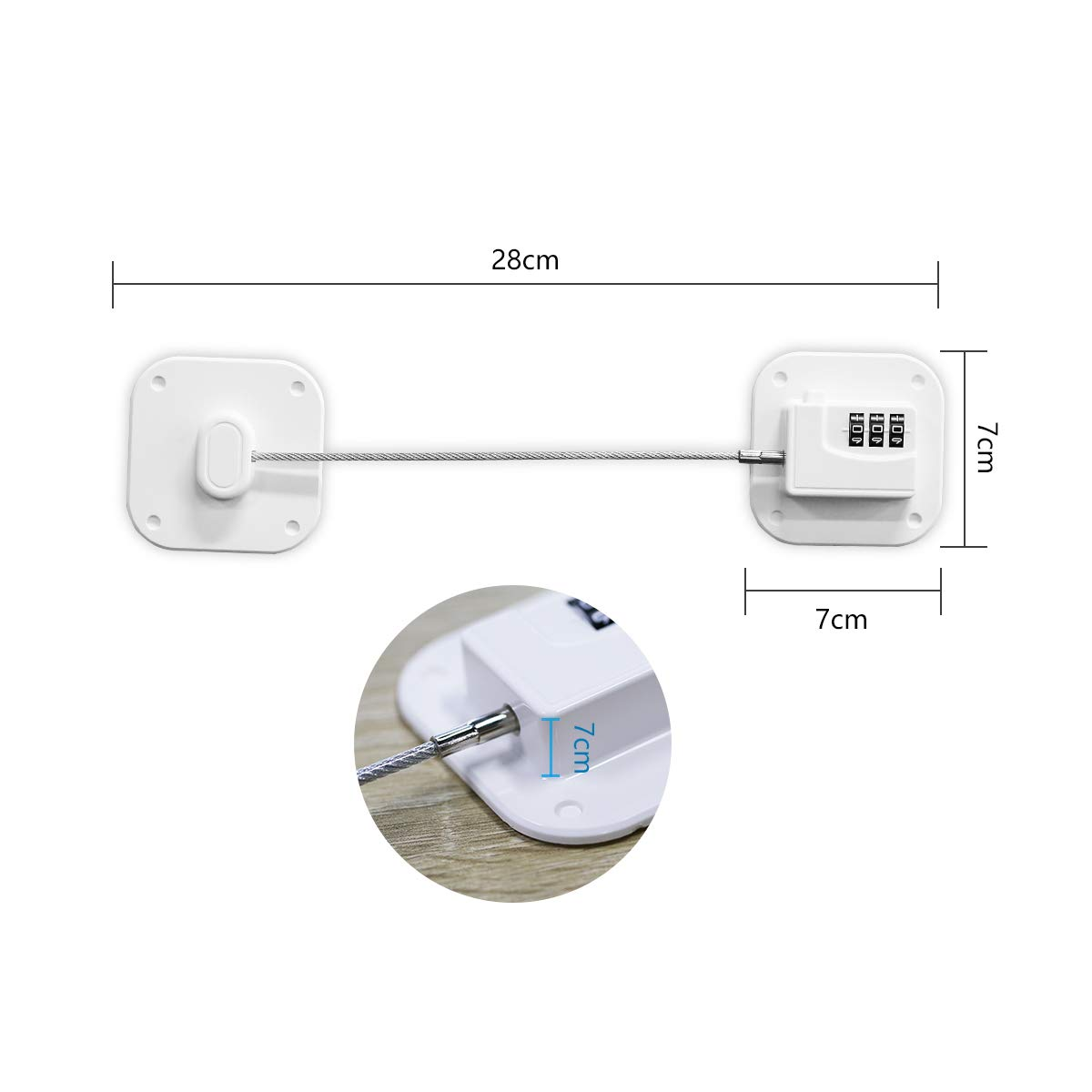Refrigerator Lock, TONYHONEY Mini Fridge Lock with Digital Password Child Safety Cabinet Locks with 3M Strong Adhesive Apply for Freezer Door Cabinet File Drawer Cupboard White 2 Pack(White)