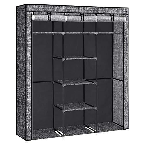 SONGMICS Stoffschrank, Kleiderschrank, mit 2 Kleiderstangen, mit Stoffüberzug, Vliesstoff in Leinenoptik, mit Ablagen, 150 x 45 x 175 cm, schwarz RYG012B12