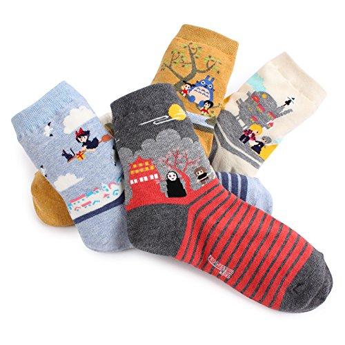 Japanese movie cute fairy tale crew socks VJ, Multi Colored, 6 - 8.5