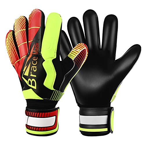 Goalie Gloves for Youth & Adult, Goalkeeper Gloves Kids with Finger Support, Black Latex Soccer Gloves for Men and Women, Junior Keeper Football Gloves for Training and Match (Black-Red size 8)