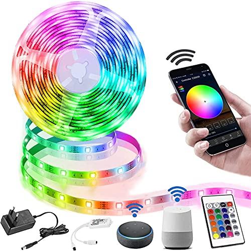 LED Strip 10M,Richsing Smart RGB LED Streifen WiFi Farbwechsel LED Lichterkette,Musik LED Strip mit Fernbedienung LED Band Dimmbar,16 Millionen Farben,Timermodus,arbeit mit Alexa [Energieklasse A]