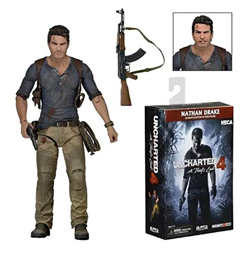 "Nostalie Nathan Drake Uncharted 4 7"" Action Figure Ultimate Movie Model Statue Inbox HJ169"