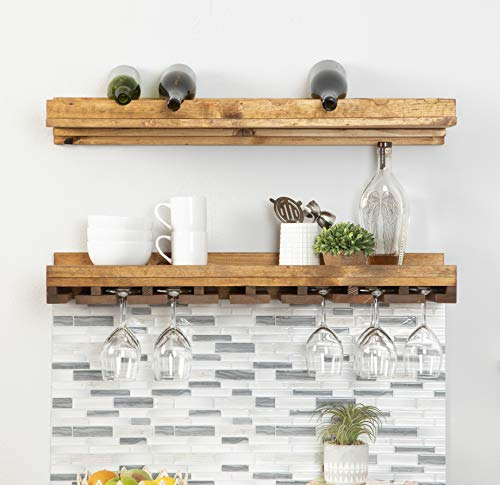 Del Hutson Designs Rustic Handmade Wall Mounted Two Tiered Solid Wood Wine Rack for Bottle Glass Stemware Set of 2 36 Inch Walnut