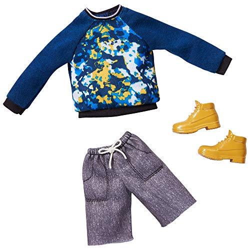 Barbie Fashions Pack: Ken Doll Clothes with Blue Graphic Sweatshirt, Gray Shorts & Boots, Gift for Kids 3 to 8 Years Old