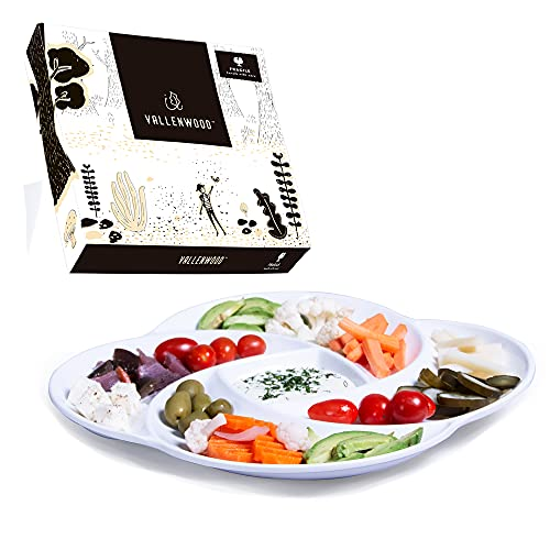 1 Ecology Reusable Non Disposable White Veggie Tray for Partys. Unbreakable Melamine Not Plastic. Appetizer Sectioned Platter. Vegetables and Fruits. Chip and Dip Serving Dish for Entertaining.