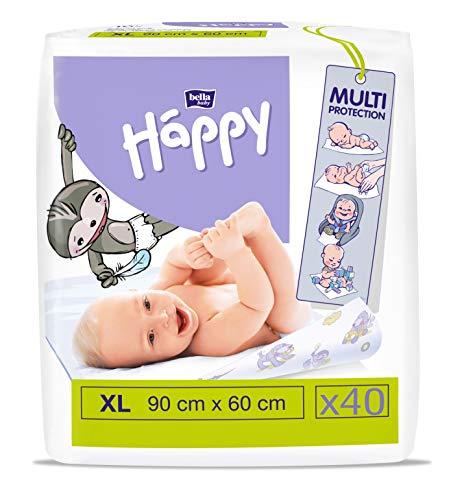 bella baby Happy Wickelunterlagen: Baby Wickelunterlagen für unterwegs XL 90 x 60 cm im 4er Pack (4 x 10 Stück) - wasserdicht und hygienisch