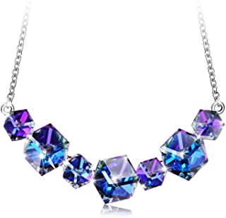 PLATO H Blue Cubic Crystal from Swarovski Necklace Unique Square for Women, Smiling Pendant Hypoallergenic Fashion Jewelry Gifts for Mom, Girlfriend or Daughter, Gift Boxed Blue Box
