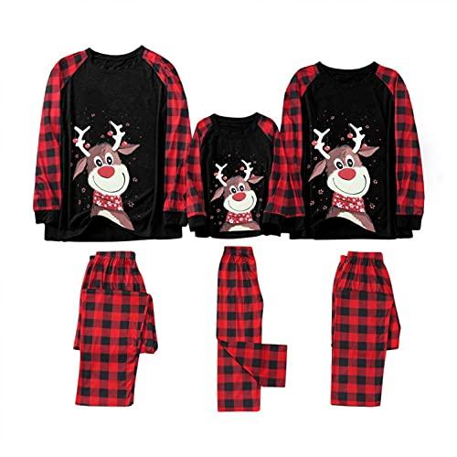 Juego de pijama familiar de Navidad a juego para bebés de alces de Navidad a juego para adultos y niños, A-negro, 5-6 Años
