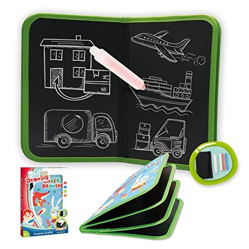 Portatile Tappetino per Pittura Doodle per Bambini con 3 Gessi, Riutilizzabile Tavolo da Disegno Giochi Bambini 3 4 5 Anni