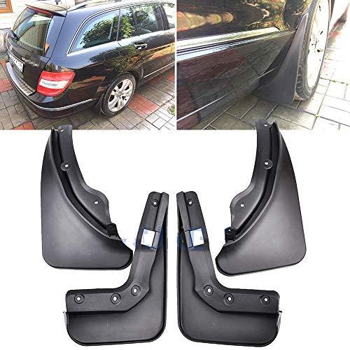 LUVCARPB Auto Schmutzfänger, passend für Mercedes Benz C-Klasse W204 S204 Kombi 2008-2010, schwarz vorne hinten 4 STK. Spritzschutz Kotflügel