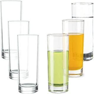 Transparent Base High Pole Bar Glass, Drinking Glasses Straight Cup For Water, Juice, Beer, And Cocktail 9.8 oz,6.5 inches Tall (Set of 6)