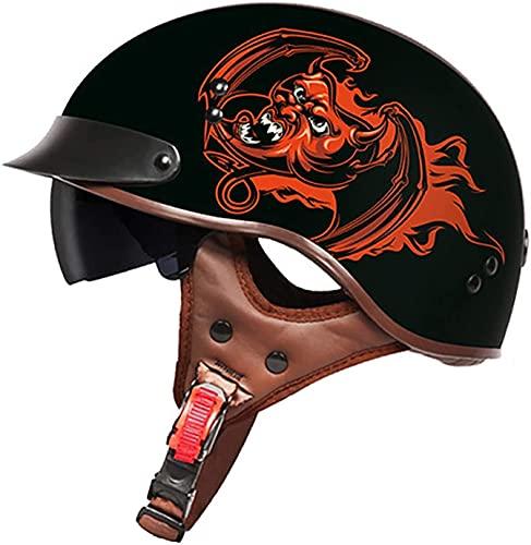 Casco De Motocicleta Con Visera,Casco Jet Para Moto Vintage Casco Medio Certificado ECE Hombres Y Mujeres Retro Seguridad Ligera Eléctrico Medio Casco Estilo Retro ( Color : M , Size : XXL = 63cm )