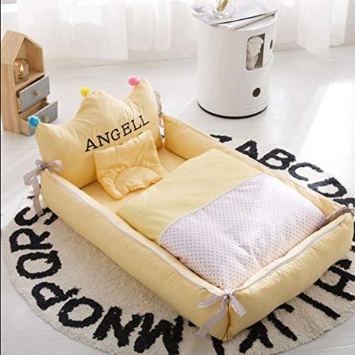 NADAEN BABY Tragbare Babyliege Neugeborene Cocoon Kuschelbett Weiches Babykissen Atmungsaktives Nest,Gelb