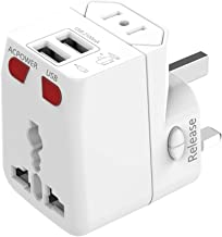 Universal Travel Adapter, WONPLUG World Power Adapter Plug with 2.1A Dual USB, International Adapter Converters for Europe, Italy, Ireland, UK, AU, Asia, Over 150 Countries, Built-in Safety Fuse