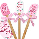 Mother's Day Gift Silicone Spatula Set with Pink Ribbon Bows Happy Mother's Day Gift Card for Mom Birthday Grandma's Day Baking Gifts Housewarming Wife Kitchen Cooking Supplies Set of 3
