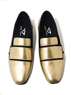 2a6ce48945e Jeder Schuh Men s Loafers Geometric Design Fashion Shoes Men s Flat Shoes  Black and Gold Wedding and