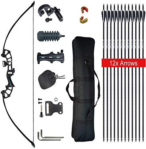 Tongtu Recurve Bow and Arrows for Adult Beginners 30 40LBS 50' Takedown Bow Archery Set Right Handed Longbow Hunting Shooting Target Practice Competition Survival Outdoor (Black, 40LBS)