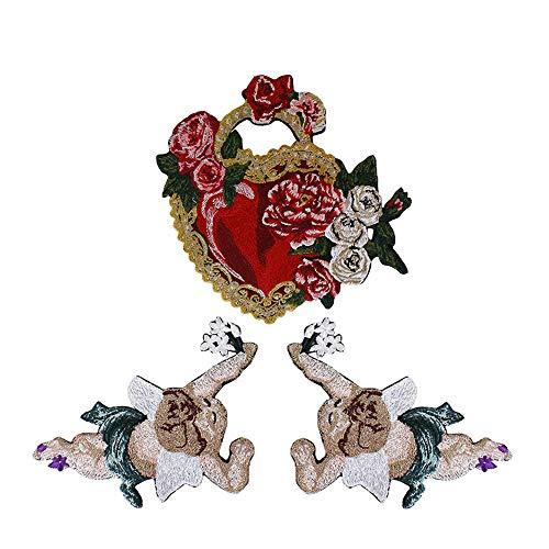 EMDOMO Parches de Tela de ángel diseño de corazón Bordado Flor, Accesorios de Costura para álbumes de Recortes, 1 Juego/3 Piezas