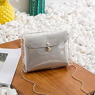 YKDY Shoulder Bag Transparent Chain Crossbody Clutch Shoulder Bags Women Mini Messenger Bag(Yellow) (Color : Grey)