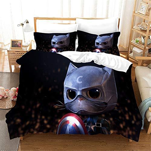 RITIOA Bettwäsche,Captain America,weiche Flauschige Bettbezüge,mit Reißverschluss Microfaser Bettwäsche Set-1 Bettbezug 200x220 cm + 2 Kissenbezüge 50x75 cm