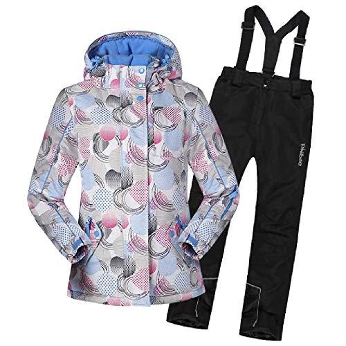 TTPF Kinder Ski Anzughose Skifahren wasserdicht Winddicht Warm Wearable Breathable Sicherheit Netter Druck für Winter-Sport im Freien,158/164