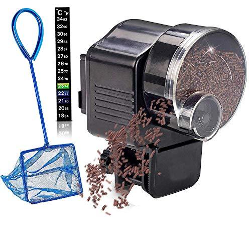 WhYlzh duurzame visvoerautomaat aquarium feeder-vistoevoer auto toevoer + net voor vistank thermostaat en kwalle (kleur: zwart, maat: M)
