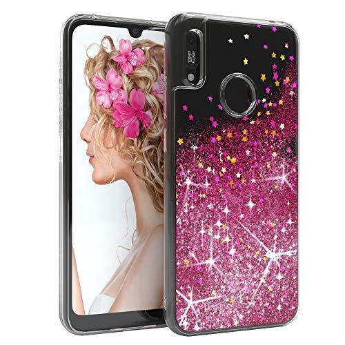 EAZY CASE Hülle kompatibel mit Huawei Y6s (2019) / Honor 8A Schutzhülle mit Flüssig-Glitzer, Handyhülle, Schutzhülle, Back Cover mit Glitter Flüssigkeit, Silikon, Transparent/Durchsichtig, Pink