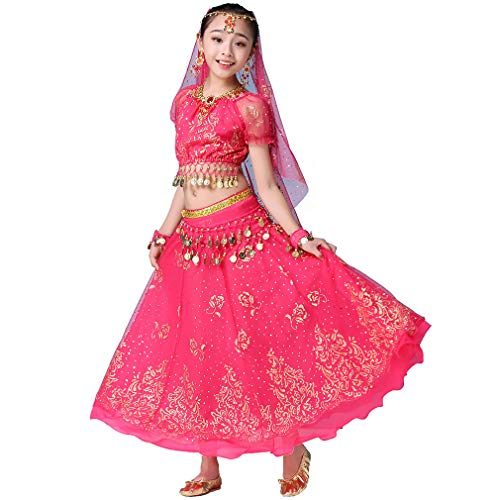 Magogo Mädchen Bauchtanz Kleid Bollywood Indian Folk Kids Arabian Performance Kostüm Karneval Outfit (105-130cm/41-51in, Rose-Rot)