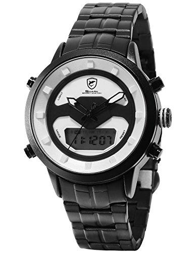 Requiem Shark Herren Quarz Armbanduhr Sport Rostfreier Stahl Datum Anzeige Tagesalarm Stoppuhr LCD SH555