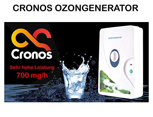 CRONOS 2in1 Ozongenerator und Ionisator für Luft, Wasser und Lebensmittel – nur bei Uns mit 700 mg/h Leistung ! - Ozone Generator - Deutscher Hersteller - Rad-Timer - 1-60 min