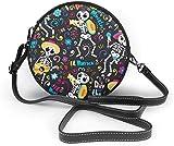 BAODANLA Bolso redondo mujer Round Crossbody Bag Skull Day of The Dead Crossbody Purse PU Leather Zipper Shoulder Bag Sling Bag