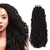 FASHION IDOL Nu Faux Locs Crochet Hair 18 Inch Natural Wavy Soft Locs Crochet Hair 6 Bundles Crochet Dreadlocks Extensions for Black Women NATURAL BLACK (1B)