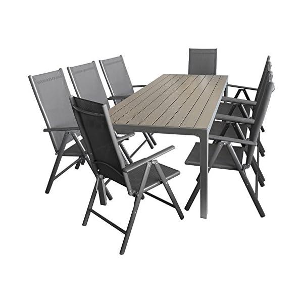 Multistore 2002 9tlg. Sitzgarnitur Sitzgruppe Gartengarnitur Gartenmöbel Terrassenmöbel Set Aluminium Polywood Tisch…
