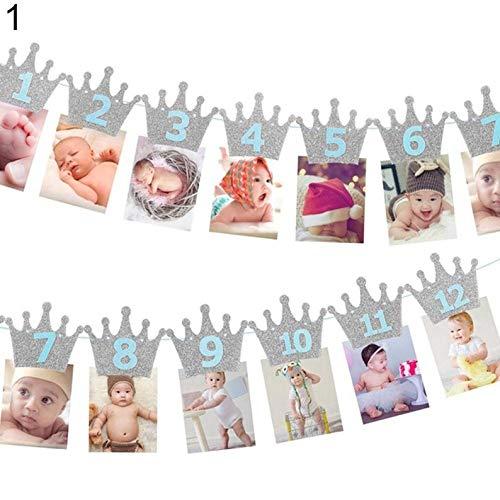 Crown Baby Photo Banner - 12 Months Picture Garland (WGW), Baby First Year Frame, Nursery Banner Photo Frame (#4-BOY-Blue-Silver)