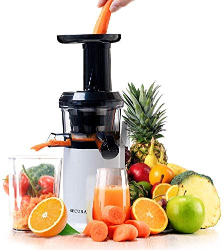 Secura Slow Juicer Masticating Juicer Big Mouth' Cold Press Juicer, Low Speed Juicer for High Nutrient Fruit and Veggies Juice (White)