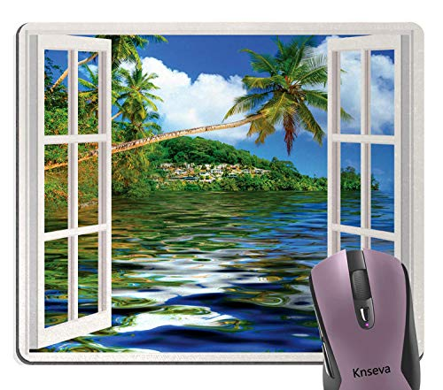 Knseva Cute Mouse Pad Tropical Palms Trees Ocean Beach Scene at Sunny Day Nature View Through Wood Window Mouse Pads