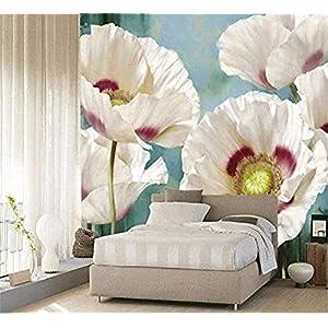 Simple Plant Poppy Flower Pastoral European Background Wallpaper Large Mural 3D Mural Wallpaper Wall Decoration Photo Wallpaper 3D Wallpaper Effect Silk Mural Bedroom