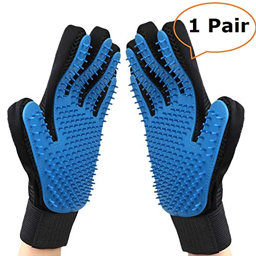 Upgraded Pet Grooming Gloves, Gentle Pet Hair Remover Glove Deshedding Brush, Washing and Massage Mitt with Enhanced Five Finger Design - Perfect for Dogs and Cats with Long/Short Hair - 1 Pair