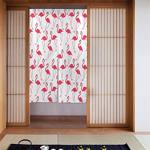 Cyloten Cute Flamingo Doorway Curtain Door Hanging Tapestry Lightweight Partition Door Curtains Privacy Home Decor Window Drapery for Bistro Fitting Room Kitchen Closet