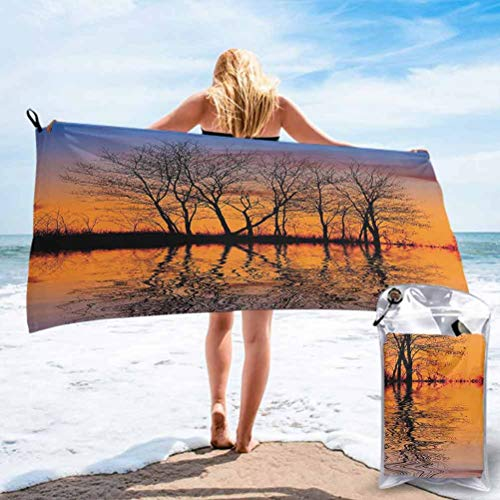 Nature Decor, Microfiber Beach Towel,Quick Dry Super Lightweight Towels, Landscape from Mother Earth Sunset by the Lake with Fall Trees Fo, Ideal Gift for Teen Girls Women, 31' x 63', Multicolor