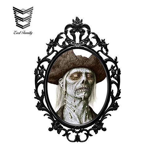 N/X YDBDB 13 cm x 8,9 cm Halloween Terror Hexe Spiegel 3D Auto Aufkleber Auto SUV Vinyl Grafik Decor Fenster Stoßstange Auto Karosserie Aufkleber