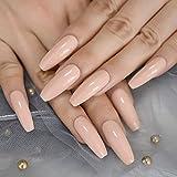 Nude Shimmer Long Coffin 20 pcs Press on Nails Long Ballerina False Nail...