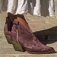ハイヒールの女性の靴秋冬のアンクルブーツヴィンテージパンクブーツレディースショートブーツ,紫色,39