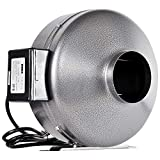 iPower GLFANXINLINE4 4 Inch 190 CFM Inline Duct Ventilation Fan HVAC Exhaust Blower for Grow Tent, Grounded Power Cord, 4', Silver