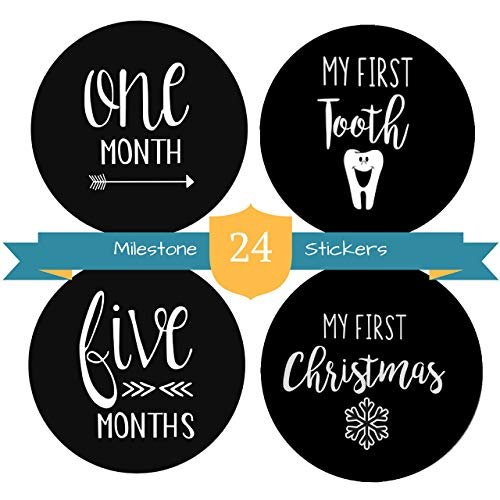 Baby Milestone Stickers by The Hamptons Baby - 24 Pack of Monthly Belly Milestones for Onesies, Months, Milestones, Firsts & Holidays - First Year (4' Round)