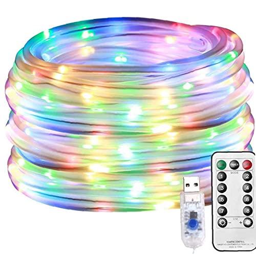 LAANCOO La Cuerda del LED Luces de Hadas Solar lámpara de la Secuencia al Aire Libre Multicolor Decorativo 100LED USB Control Remoto 8 Modos Tubo Enciende 12m