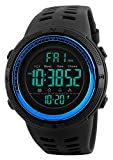Tonnier Watch Mens Outdoor Sports Watches Multifunction Digital LED Military Dual Time Back Light Stopwatch Waterproof Wristwatches for Man with PU Band(Blue)