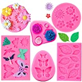 6 Pieces Silicone Fondant Molds, Yizeda Butterfly Fondant Mold Cake Molds Flower Candy Cake Fondant...